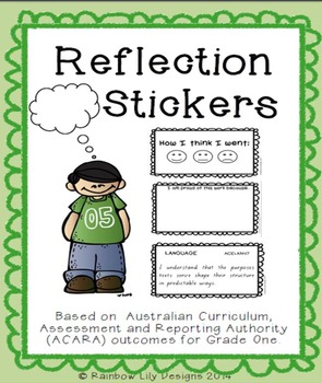 Grade 1 Reflection Stickers based on ACARA Outcomes