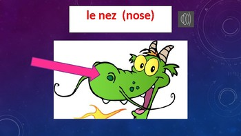 Grade 1 (SK Level 1) Core French Body Parts Individual Slides PowerPoint