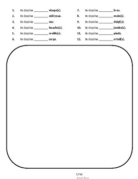 Grade 1 (SK Level 1) Core French Body Parts Monster Activity Part 2