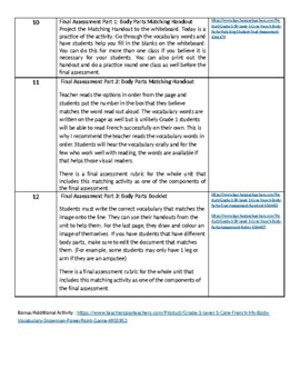 Grade 1 (SK Level 1) Core French Body Parts Unit Outline