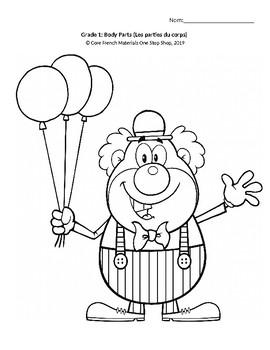Grade 1 (SK Level 1) Core French Colorier le clown (Student Activity&Handout)