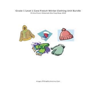 Grade 1 (SK Level 1) Core French Winter Clothing Unit Bundle