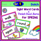 Grade 1: SPRING Dolch Sight Word Cards/Pocket Chart Game