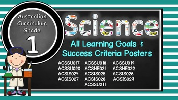 Grade 1 Science Complete set Learning Goals & Success Criteria Posters AC