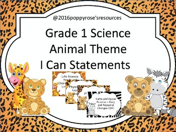Grade 1 Science I Can Posters - Animal/Jungle Theme  - Sas