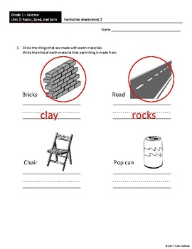 Grade 1 Science - Rocks, Sands, and Soils Assessments