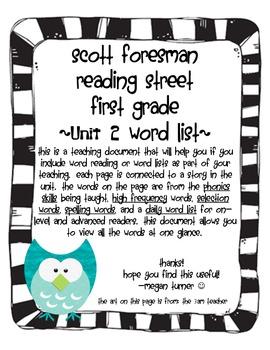 Reading Street Grade 1 Word List Unit 2