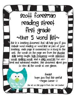 Reading Street Grade 1 Word List Unit 5