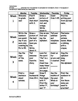 Grade 1 September Homework Calendar