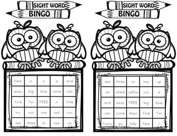 Grade 1 Sight Word BINGO B&W ink (Daycare Support by Priscilla Beth)