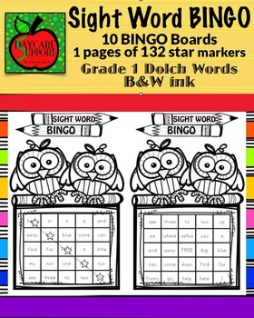 Grade 1 Sight Word BINGO B&W ink (Daycare Support by Priscilla Beth)