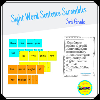 Grade 3 Sight Word Sentence Scrambles
