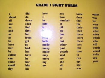 Grade 1 Sight Words, Word Wall
