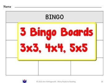 Silent-E Syllable Bingo Game Grade 1