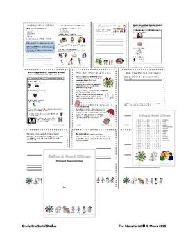 First Grade Social Studies Bundle Family Citizenship Mapping Economics Holidays