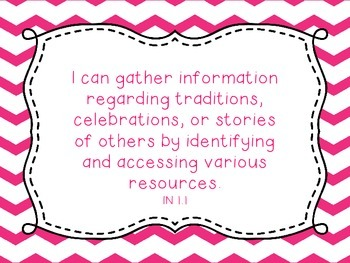 Grade 1 Social Studies I Can Statement Posters Pink Chevron