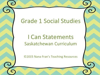 Grade 1 Social Studies I Can Statement Posters Turquoise and Green