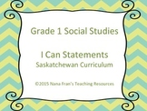 Grade 1 Social Studies I Can Statement Posters Turquoise a