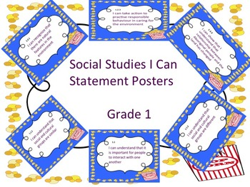 Grade 1 Social Studies I Can Statement Posters and Checklist