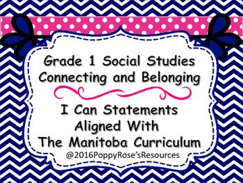 Grade 1 Social Studies I Can Statements Manitoba Curriculum