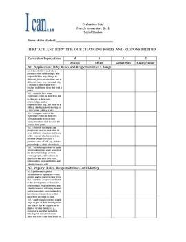 Grade 1 Social Studies Ontario Curriculum Evaluation Grid