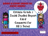 Grade 1 Social Studies Report Card Comments, ALL 3 TERMS!