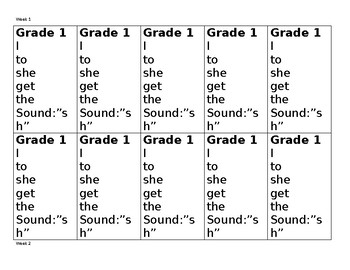 Grade 1 Spelling Lists