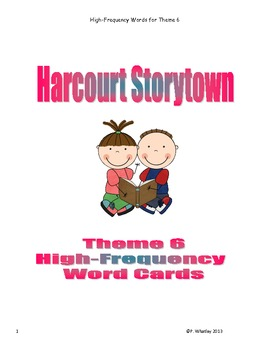 Grade 1 Storytown Theme 6 High-Frequency / Sight Word Cards