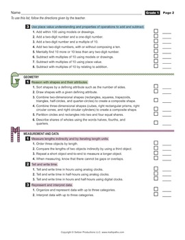 Grade 1 Student's 2-Page Checklist of Math Goals for CCSS
