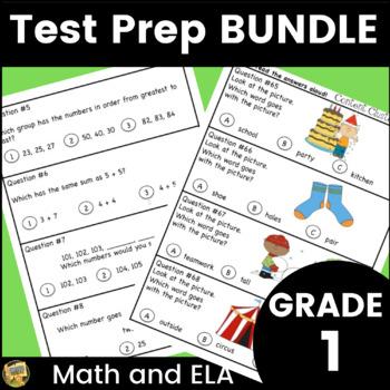 Grade 1 Test Prep Bundle - Math and ELA - great for SAT 10 | TpT