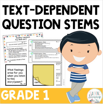 Text-Dependent Question Stems - POST IT NOTE Templates & More - CCSS - 1st Grade