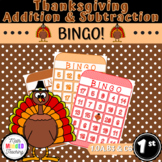 Grade 1 - Thanksgiving Addition and Subtraction Bingo