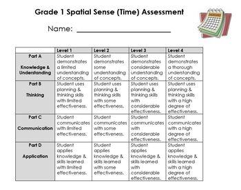 Grade 1 Time, Temperature, Calendar Assessment