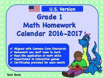 Grade 1 U.S. Math Homework Calendar - 2016-2017 - (Common