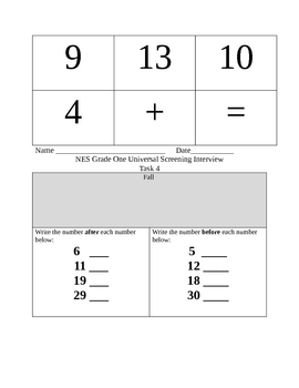 Grade 1 Universal Screening for Counting, Computing and Time