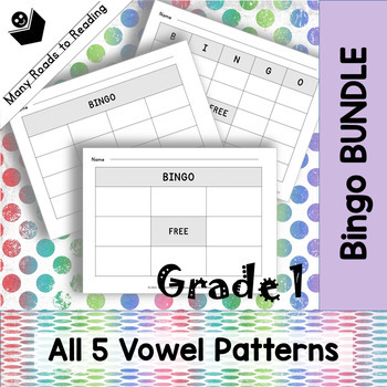 Grade 1 Vowel Pattern Bingo Game BUNDLE