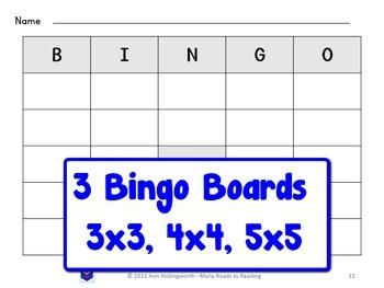 Grade 1 Vowel-Vowel Pattern Bingo Game