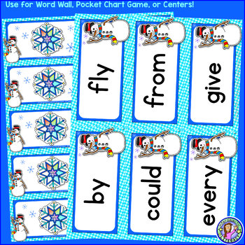 Grade 1: WINTER Dolch Sight Word Cards/Pocket Chart Game