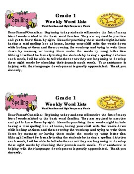 Grade 1 Weekly Word Lists Template