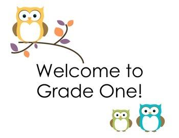 Grade 1 Welcome Door Sign (Owls)