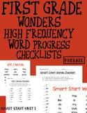Grade 1 Wonders HFW Progress Checklist FREEBIE