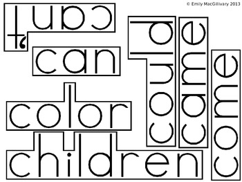 Grade 1 (First Grade) Word Wall: Boxed Font (150+ words)