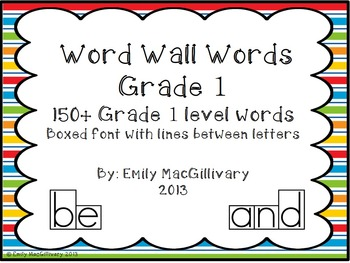 Grade 1(First) Word Wall: Boxed Font with Line between Letters (150+ words)