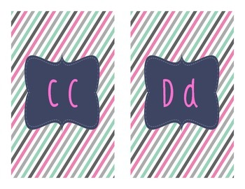 Grade 1 Word Wall - Letter and Words - Pink/Navy/Teal Theme