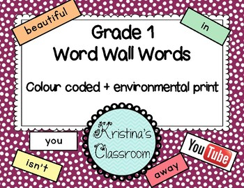 Grade 1 Word Wall List (colour coded and with environmental print)