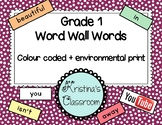 Grade 1 Word Wall List (colour coded and with environmenta