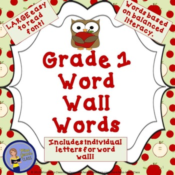 Grade 1 Word Wall Words - Apple and Owl Themed
