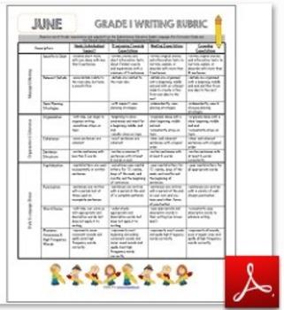 Grade 1 Writing Rubric June