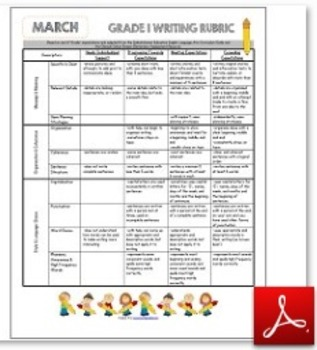 Grade 1 Writing Rubric March