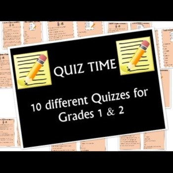 Grade 1 and 2 Quiz Pack- 10 different Quizzes
